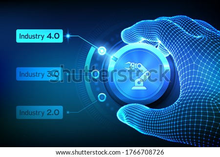 Smart Industry 4.0 concept. Industrial revolutions steps. Wireframe hand turning a knob and selecting industry 4.0 mode. Factory automation. Autonomous industrial technology. Vector illustration.