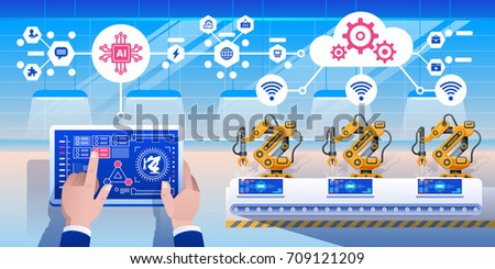 Smart industry 4.0 infographic. Man connecting with a factory using tablet and exchanging data with a neural network. Artificial intelligence. Vector illustration.