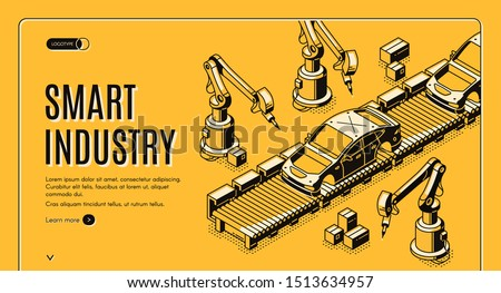 Smart industry isometric landing page, robots hands assemble car on conveyor belt. Innovation technology and factory automation process in manufacture. 3d vector illustration, line art, web banner