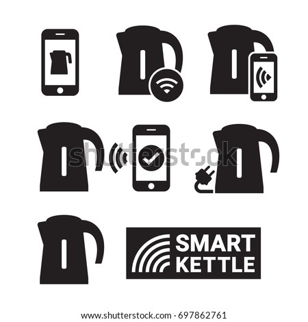 Smart kettle and smart phone controls. Smart kettle icons. Black on a white background