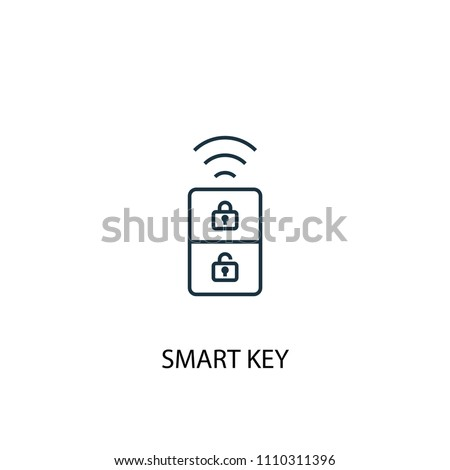 smart key concept line icon. Simple element illustration. smart key concept outline symbol design from Smart home set. Can be used for web and mobile UI/UX