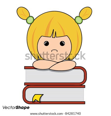 Smart little girl thinking on a pile of books, vector illustration