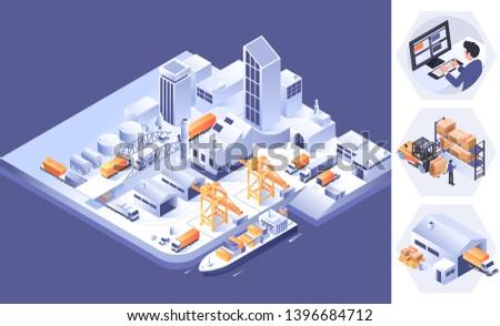 Smart logistics and transportation concept.Logistics isometric infographics