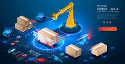 Smart logistics industry 4.0. Asset warehouse and inventory management supply chain technology concept. 3D Robot Palletizing Systems, Robotic arm loading and scan cartons on pallet. Erp. Auditing data
