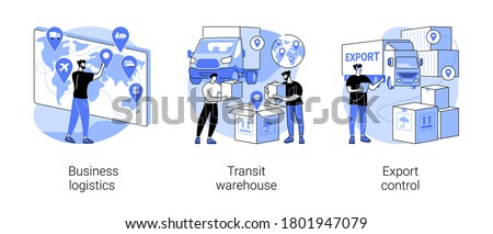 Smart logistics technologies abstract concept vector illustration set. Business logistics, transit warehouse, export control, business transportation, goods transfer, shipping abstract metaphor.