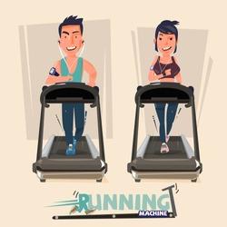 smart male and female doing exercises on treadmill. running machine - vector illustration
