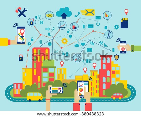 smart media city landscape flat illustration with mobile devices icons set