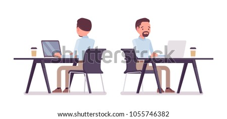 Smart middle aged man in buttoned up shirt and camel skinny chino trousers, working at desk with computer. Business stylish workwear trend, office city fashion. Vector flat style cartoon illustration