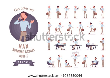 Smart middle aged man in buttoned up shirt, camel skinny chino trousers, ready-to-use character set. Business stylish workwear trend. Full length, different views, gestures, emotions, front, rear view