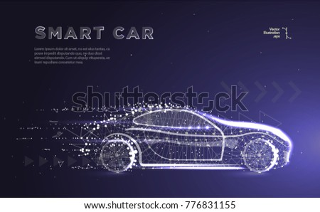 Smart or intelligent car. Sport car with polygon line on abstract background. Polygonal space low poly with connecting dots and lines. Connection structure. Vector speed concept background.