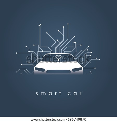 smart or intelligent car vector