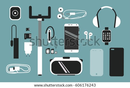 Smart phone accessories vector flat style illustration set. Creative mobile collection.