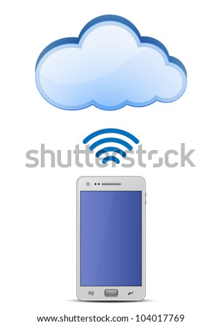 Smart phone and wireless connection to cloud network. Vector Illustration