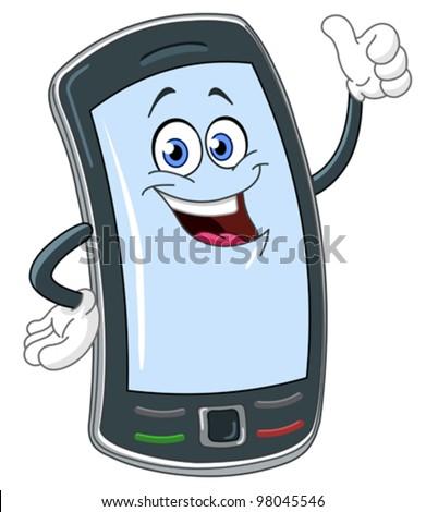 Smart phone cartoon with thumb up