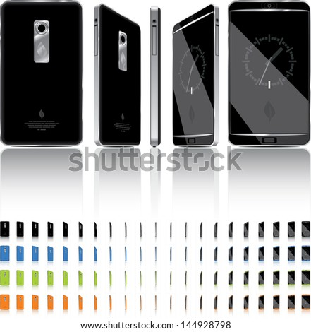 ShutterStock Smart Phone 3D Rotation 21 Frames Vector illustration of