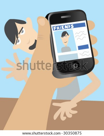 Smart Phone - Dumb Friend - Vector Illustration