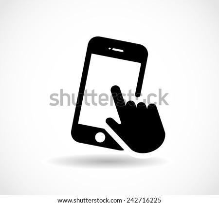 Smart phone, hand, finger clicking vector