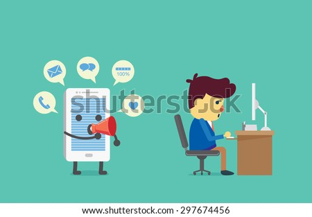 Smart phone have many alert with speech bubbles from megaphone to distraction working businessman