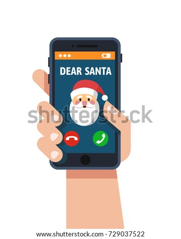 Smart phone in hand. Santa claus calls. Vector flat Design style