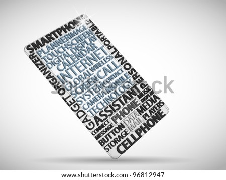 Smart phone made from words which relate with phoning