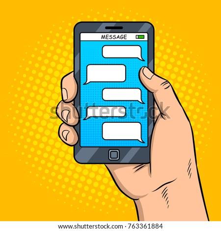 Smart phone messaging pop art retro vector illustration. Comic book style imitation.
