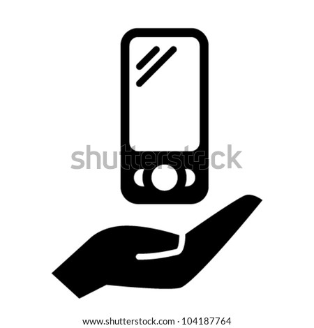 Smart phone on hand icon