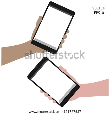 smart phone on hand , tablet drawing,smart phone drawing,tablet symbol,smart phone symbol, vector