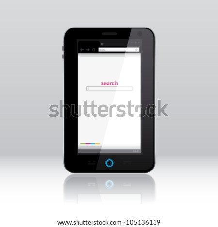 Smart phone, powered on, with internet browser window on the screen
