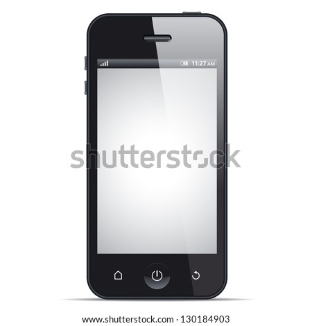 Smart phone, realistic vector illustration. This file is EPS10 vector and it includes transparency effects.