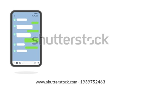 Smart phone's Messenger app chats screenshot on white background vector illustration. Template for talking on the Mobile phone with empty Chatting Bubbles mockup.