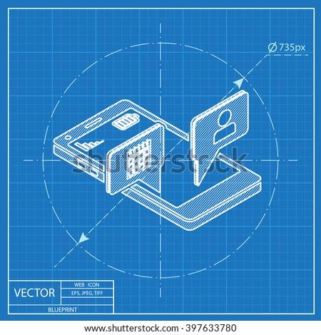 smart phone services 3d isometric blueprint icon