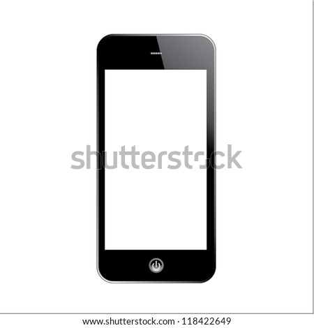 Smart phone touch screen. Isolated on white.