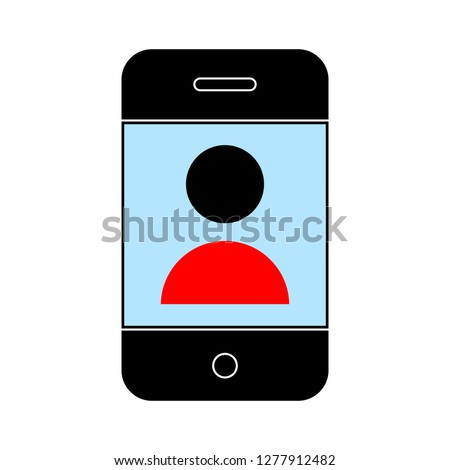 smart phone video call icon - smart phone video call isolated, conference-call illustration - Vector phone video call