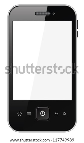 Smart phone with blank screen. Isolated on white background. Vector illustration