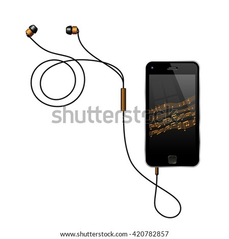 Smart Phone With Earphones. Semi Realistic Vector Illustration Of A No Name Smart Phone With Its Earphones