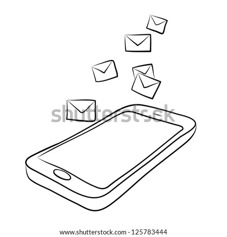 smart phone with envelopes or e-mail