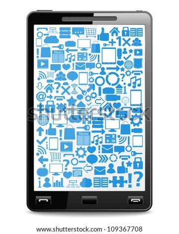 Smart phone with icons on the screen, vector eps10 illustration