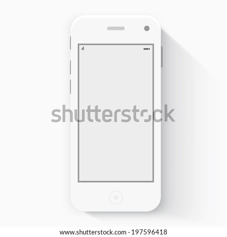 Smart Phone with Isolated. Realistic white vector. Flat design vector illustration concept for mobile apps. Design kit UI Elements