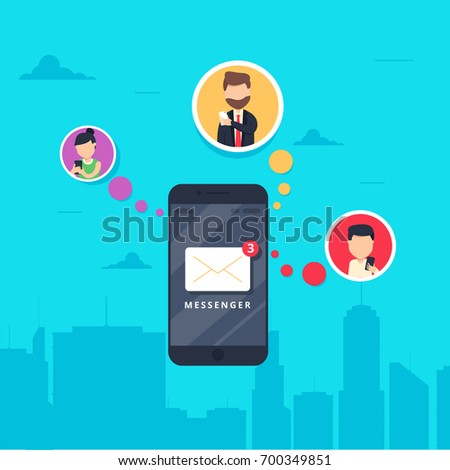 smart phone with messenger app