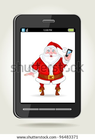 Smart phone with Santa Claus with a smart phone on the screen