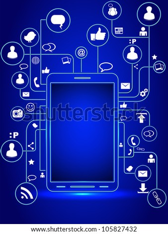 Smart phone with social media concept. EPS 10.