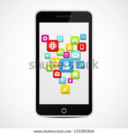Smart Phone With Social media icons. Vector illustration.