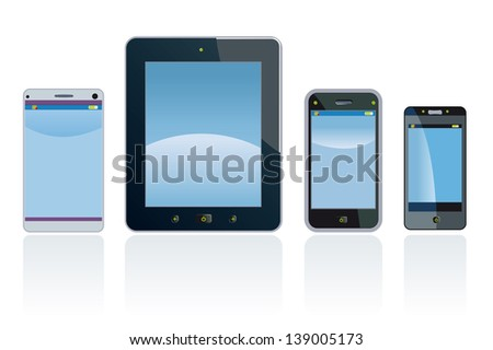 Smart phones and digital Tablet. Cellphone and tablet are fictitious generic design.
