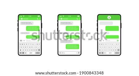 Smart phones chatting sms template bubbles. Chat templates, message, phones and speech bubbles green colour in flat style. Social media design concept. Sms template bubbles for compose dialogues.