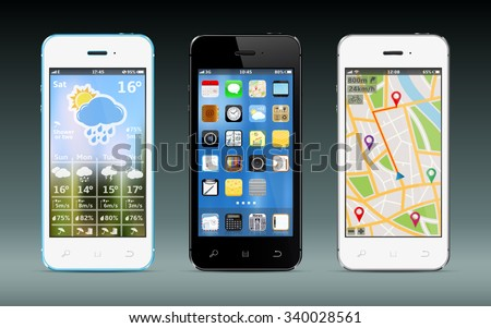 Smart phones with app icons, weather and GPS navigation widgets