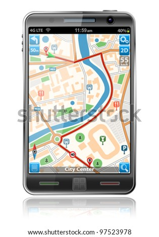 Smart Phones with GPS Navigation Application, isolated on white background, vector illustration