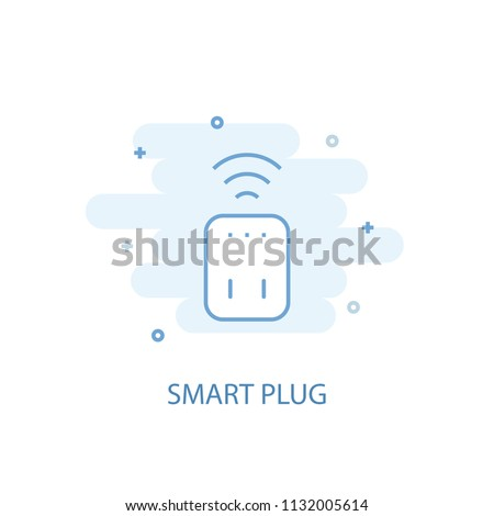 Smart plug line trendy icon. Simple line, colored illustration. Smart plug symbol flat design from Smart Home set. Can be used for UI/UX