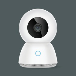 Smart PTZ security camera, hi tech innovation and cutting edge technology- vector illustration