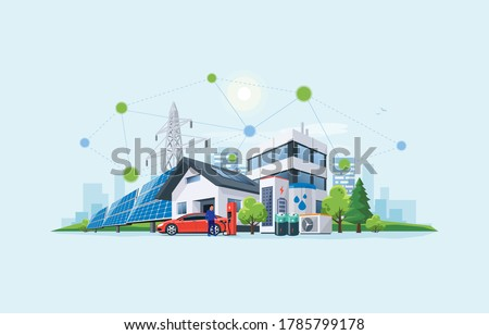 Smart renewable energy power grid system. Off-grid building city battery storage sustainable island electrification. Electric car charging with solar panels, wind, high voltage power grid and city.