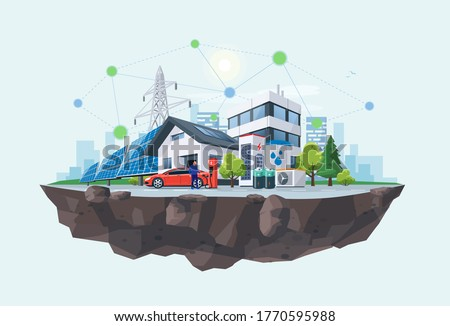 Smart renewable energy power grid system. Off-grid household city battery storage sustainable island electrification. Electric car charging with solar panels, wind, high voltage power grid and city.